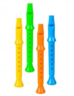 Spielzeug-Flöten Piñata-Geschenkidee 4 Stück bunt 14 cm