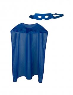 Superhelden-Umhang mit Maske für Erwachsene blau