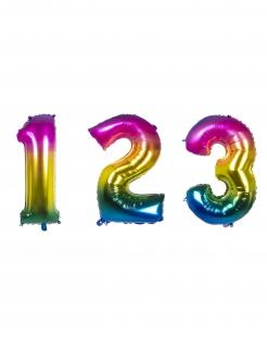 Regenbogen-Zahlenluftballon Geburtstagsdeko bunt 86 cm