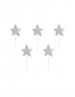 Sternförmige Geburtstagskerzen glitzern 5 Stück silberfarben 3,5 cm