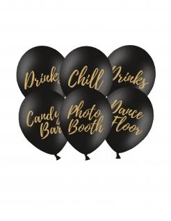 Beschriftete Partyballons 6 Stück schwarz-goldfarben 30 cm