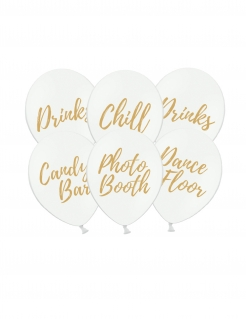 Party Ballonset 6-Stück weiß-goldfarben 30 cm