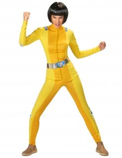 Spionin-Kostüm für Damen Faschingskostüm gelb-silber