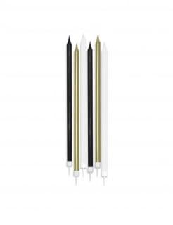 Geburtstagskerzen-Set 6-Stück weiß-schwarz-goldfarben 15 cm