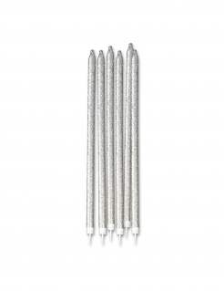 Pailletten-Kerzen lange Kerzen Partydeko 12 Stück silber 15 cm