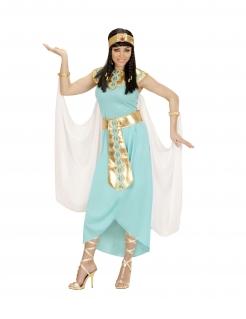 Ägyptische Königin-Damenkostüm Faschingskostüm hellblau-gold
