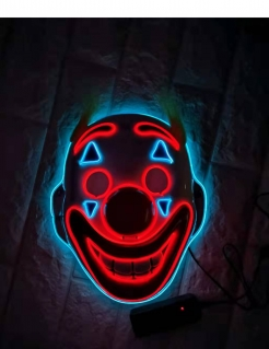 Clown-LED-Maske Halloween und Faschingsmaske bunt