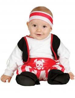 Niedliches Piratenkostüm für Babys schwarz-weiss-rot