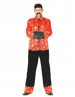 China-Kostüm für Herren Faschingskostüm rot-schwarz