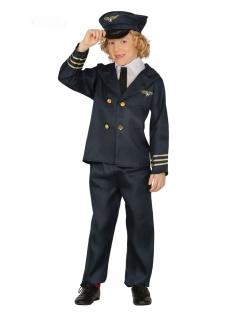 Schickes Pilotenkostüm für Kinder Uniform blau-goldfarben
