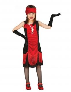 Charleston Cabaret-Kostüm für Mädchen rot-schwarz