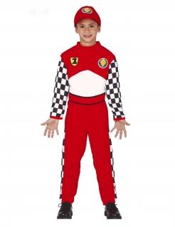 Klassisches Rennfahre-Kostüm für Jungen rot-schwarz-weiss