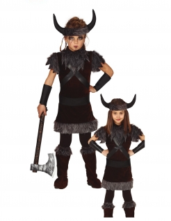 Wikinger-Mädchen-Kostüm Kinder-Karneval-Kostüm braun-grau-schwarz