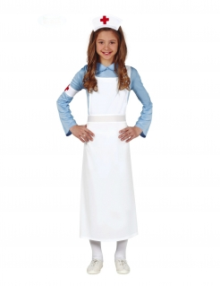 Retro Krankenschwester-Kostüm für Mädchen weiss-blau-rot