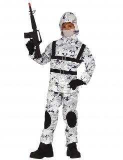 Schnee-Soldat Kinderkostüm grau-weiss-schwarz
