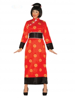 Geisha-Kostüm Kimono Karneval-Kostüm rot-gelb-schwarz