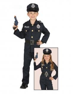 Polizisten-Kostüm für Kinder Kinder-Karneval-Kostüm blau-schwarz