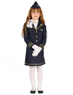 Kinder-Stewardess-Kostüm Karneval-Kostüm für Mädchen blau-gold