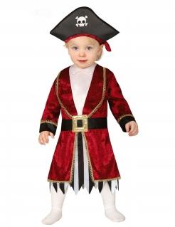 Baby-Piratenkostüm Karneval-Kostüm für Kleinkinder rot-schwarz-weiss
