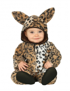 Süßes Leoparden-Kostüm Tier-Overall für Kleinkinder braun-schwarz-weiss