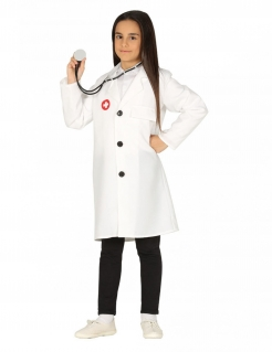 Ärztin-Kostüm für Kinder Kinder-Arzt-Kittel Arzt-Kostüm für Mädchen weiss-rot