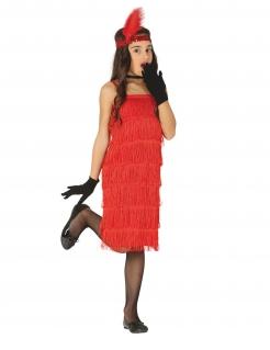 Charleston-Kostüm für Kinder 20er-Jahre-Kostüm Kinder-Karneval-Kostüm rot
