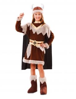 Wikinger-Kostüm für Mädchen Faschingskostüm braun
