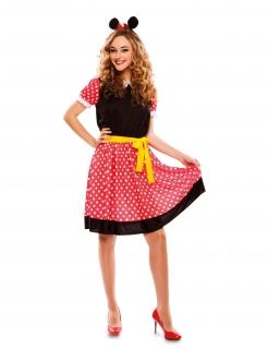 Maus-Kostüm für Damen Faschingskostüm schwarz-rot