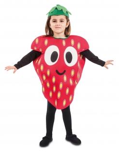 Hübsche Erdbeere Kinderkostüm für Karneval bunt