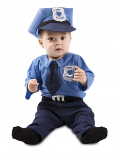 Mini-Polizeikostüm für Babys blau-silber