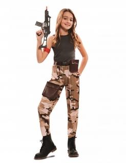 Soldatenkostüm für Mädchen braun-grau