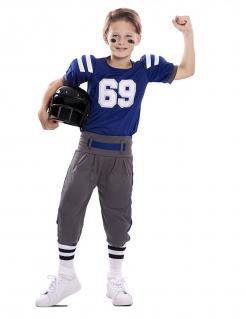 Sportliches American Football-Kostüm für Jungen blau-weiss-grau
