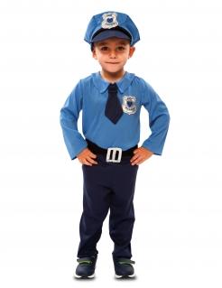 Niedlicher Polizeibeamter Babykostüm für Jungen blau-silber