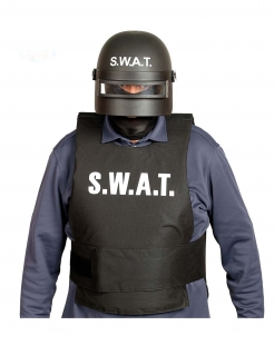 Spezialeinheit-Helm SWAT Faschingsaccessoire schwarz-weiss