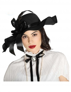 Eleganter Hut für Damen mit Federn Accessoire schwarz