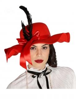 Eleganter Hut für Damen mit Federn Accessoire rot-schwarz