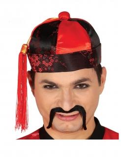Asiatischer Hut schwarz-rot