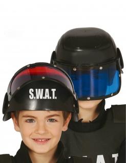 SWAT-Helm mit Visier für Kinder Faschingsaccessoire schwarz-blau