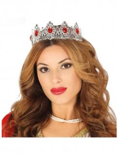 Elegantes Prinzessinnen-Tiara für Damen silberfarben-rot