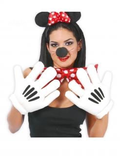 Comicmaus-Handschuhe für Erwachsene weiss-schwarz