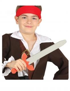 Piraten-Kinderschwert aus Hartschaum grau-rot 57 cm