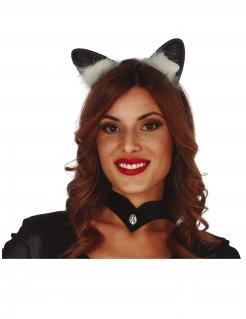 Katzenohren-Haarreif Kostüm-Accessoire für Damen schwarz