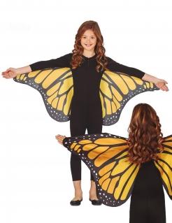 Hübsche Schmetterlingsflügel für Kinder schwarz-orange-weiss 110 x 50 cm