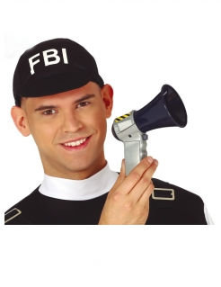 Polizei-Megaphon mit Sound Accessoire Fasching schwarz-silber