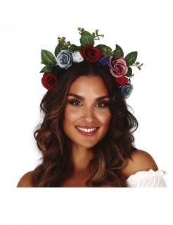 Blumenkrone für Damen Faschings-Accessoire bunt
