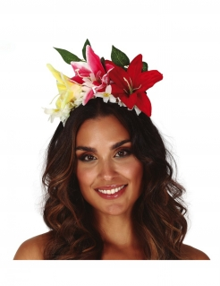 Hawaii-Blumenkrone Blumen-Haarreif Damen-Kostümaccessoire bunt