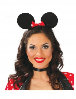 Mausohren-Haarreif Karneval-Accessoire schwarz-rot