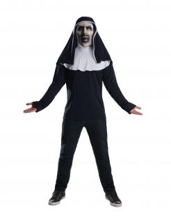 The Nun™-Kostüm Oberteil und Maske Halloween schwarz-weiß