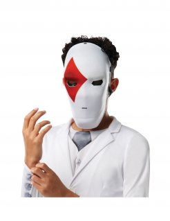 Wild Card™-Maske für Kinder Fortnite™ Faschingsmaske weiss-rot