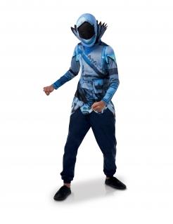 Frozen Raven™-Kostüm Top und Maske Fortnite™ Faschingskostüm blau